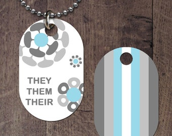 Demiboy Pronouns (double sided) Dog Tag