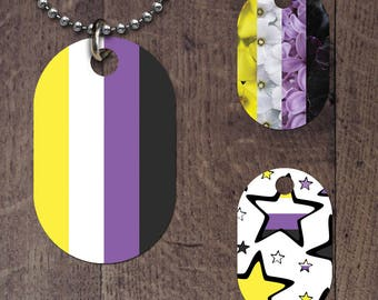 Nonbinary Flag Dog Tag