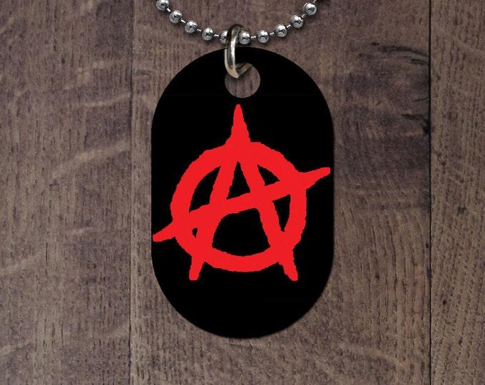 Anarchy Symbol Dog Tag