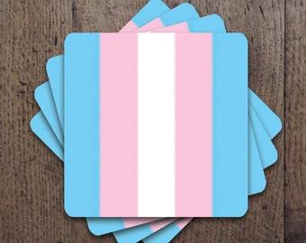 Transgender flag colors Coaster Set