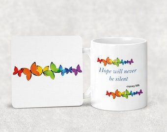Hope will never be silent mug with or without coordinating coaster