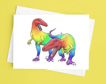 Rainbow Raptors greeting card