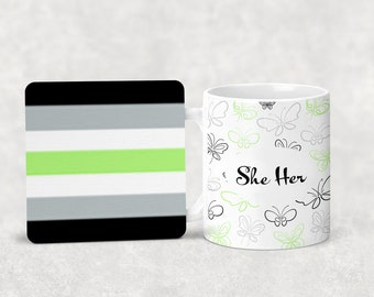 Agender pronoun mug with or without coordinating coaster
