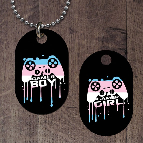 Transgender Pride Gamer Boy-Girl Dog Tag