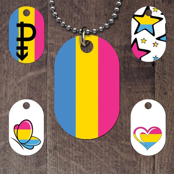 Pansexual Flag Dog Tags