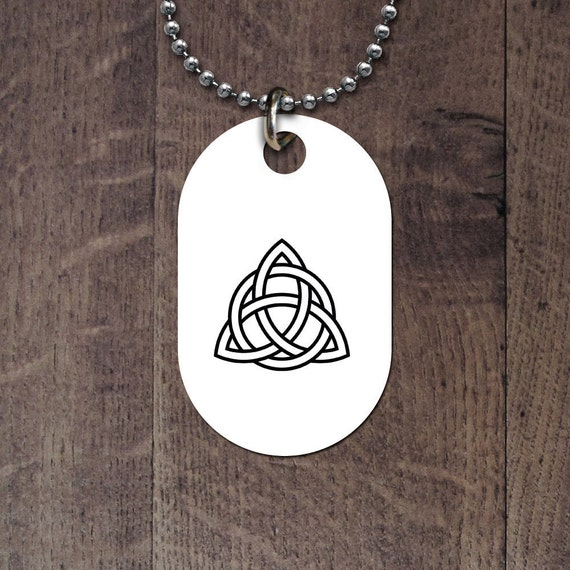 Triquetra interlaced with circle dog tag