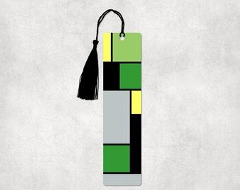 Aromantic pride Mondrain inspired aluminum bookmark