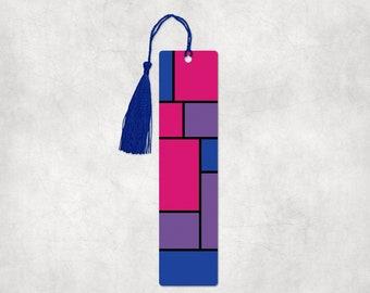 Bisexual Pride Mondrain inspired aluminum bookmarks