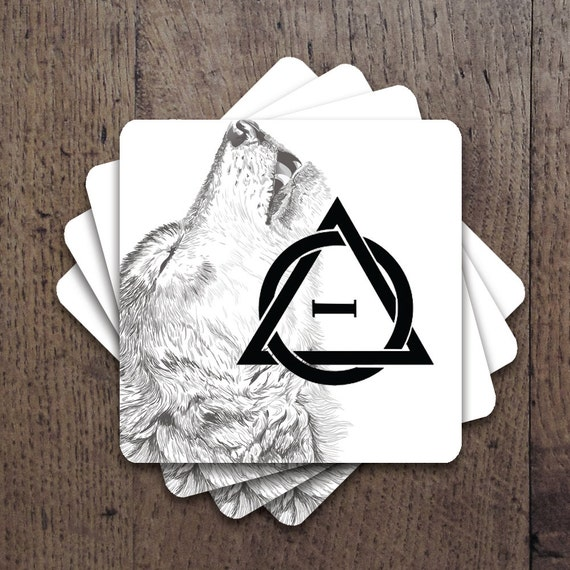 Therian with Wolf background Coaster Set
