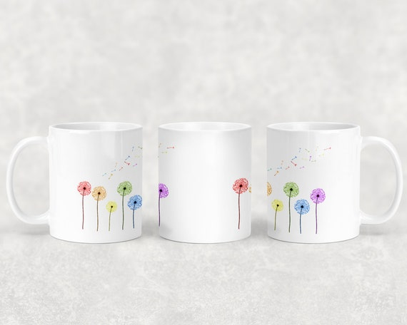 Dandelion mug with or without coordinating coaster