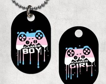 Transgender Pride Gamer Boy-Girl Dog Tag