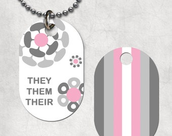 Demigirl Pronouns (double sided) Dog Tag