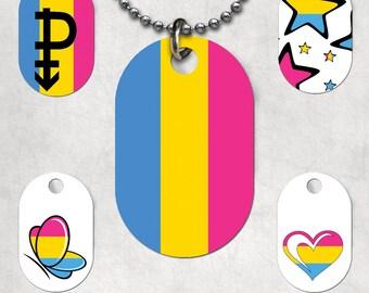 Pansexual Flag Dog Tags