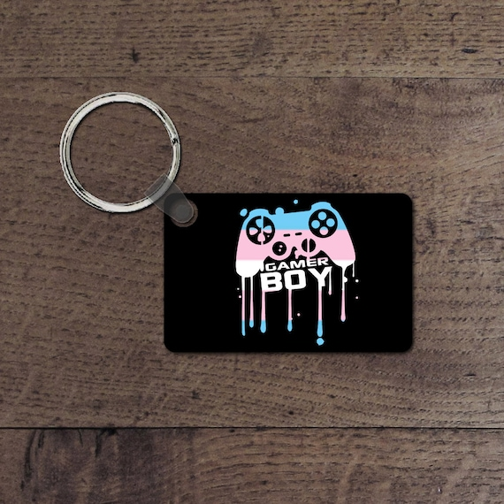 Trans gamer boy key chain