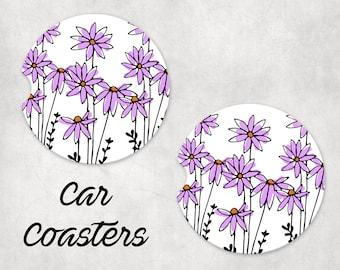Car coasters (set of 2) - flowers