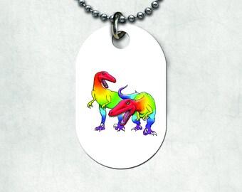 Rainbow raptors Dogtag