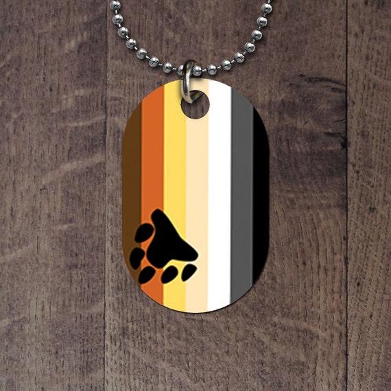 Bear pride flag dog tag