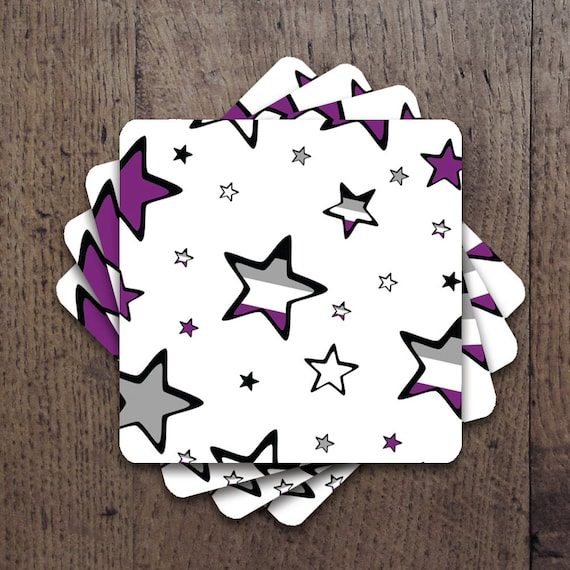 Asexual flag colored stars Coaster Set