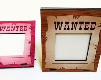 Wanted Picture Frame, Lasercut Wood, Customizable