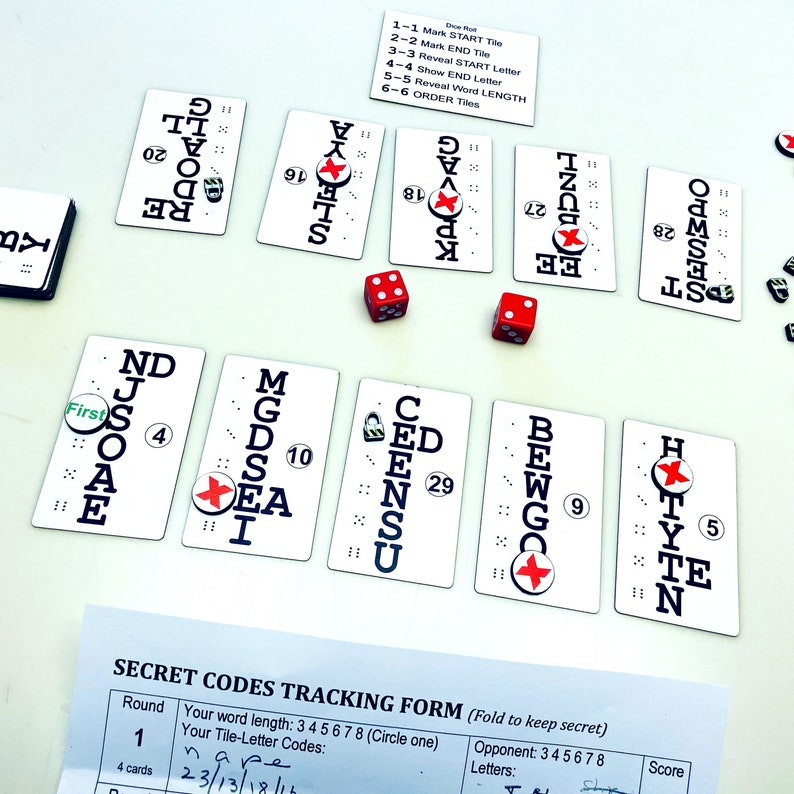 Cryptic Words Two-Player Board Game Cards Version