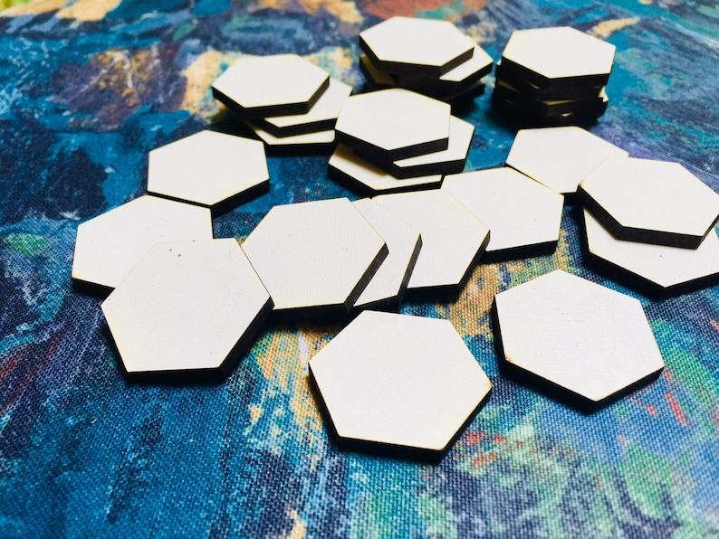 Blank Hexagonal Wood or Acrylic Tiles  Customizable Sizes and image 0