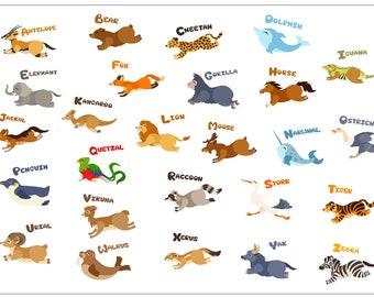 Animals Placemat | Lasercut | Wood A-Z Alphabet