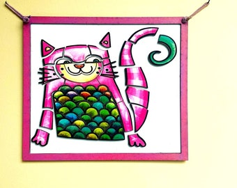 Magnetic Cat Puzzle Wall Hanging for Children