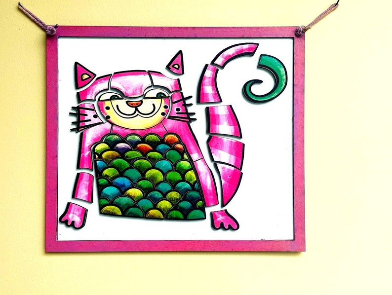 Magnetic Cat Puzzle Wall Hanging for Children Pink