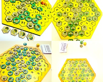 Bee First - Math and Spelling Board Game for Kids   Two Games in One Hive