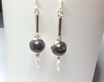 Mohave Türkis blau rund Design Ohrringe Ohrhänger Hänger 925 Sterling Silber neu
