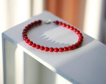 6mm Mens Beaded Red Sea Bamboo Bracelet - Red Sea Bamboo