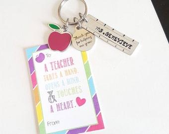 Teacher Keychain - Thank you for helping me grow