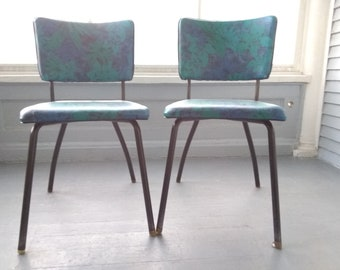 Vintage 50s Kitchen Chairs Dining Chairs Dinette Chairs Metal Vinyl Blue MidCentury Atomic Era Kitschy Furniture RhymeswithDaughter