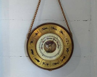 Vintage, Barometer, Zodiac, Weather Instrument, Astrological, Man Cave, Office, Den, Home Decor, Photo Prop RhymeswithDaughter