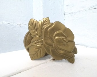 Note Holder Large Vintage Brass Rose Shaped Clip Hanging Unique and Beautiful Gift Idea Photo Prop RhymeswithDaughter