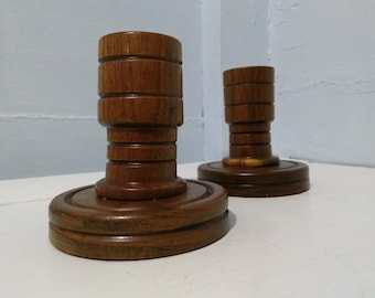 Vintage Wood Candlestick Holders Short Round Pair Home Decor Dining Table Decor Mantel Decor Photo Prop RhymeswithDaughter
