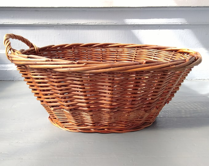 Featured listing image: Vintage Wicker Laundry Basket Large Oval Clothes Basket Hamper Decorative Display Rustic Farmhouse Country Photo Prop RhymeswithDaughter