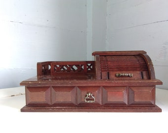 Jewelry Box and Dresser Valet Combo, Wood, Vintage, Organizer, Caddy, MidCentury Modern, Photo Prop, RhymeswithDaughter