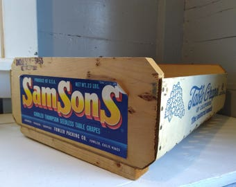 Old Wood Crate Produce Crate SamSons Grape Storage Box Decorative Box Advertising Crate Photo Prop RhymeswithDaughter