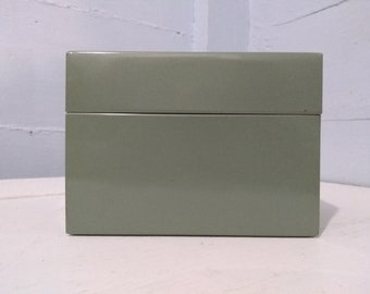 Vintage Metal 4 x 6 Index Card File Box Recipe Box Kitchen Decor Office Mid Century Light Green RhymeswithDaughter