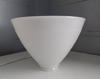 """Vintage 8"""" White Milk Glass Waffle Pattern Diffuser Torchiere Floor Lamp Shade RhymeswithDaughter"""