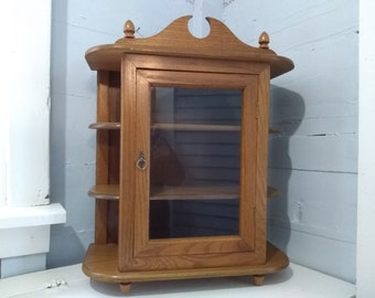 Large, Curio Cabinet, Display Cabinet, Glass Door, Wall Mount, Table Top, Shelves, Wood, Oak, Vintage, Photo Prop,  RhymeswithDaughter