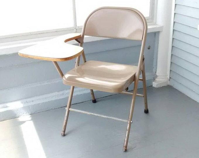 Featured listing image: Vintage Desk Chair Student Desk Writing Desk Lap Top Desk Portable Desk Metal Wood Krueger Folding Furniture  Photo Prop RhymeswithDaughter