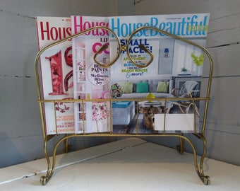 Vintage MidCentury Modern Magazine Rack Metal Brass Color Standing Living Room Bathroom Home Decor Photo Prop RhymeswithDaughter