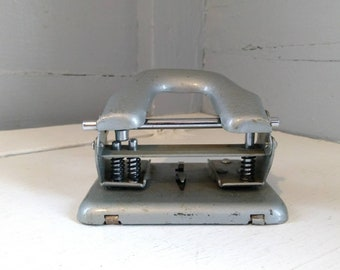 Vintage Mid Century 2 Hole Paper Punch Metal Gray General MOD NO 330 Industrial Office Crafting Tool RhymeswithDaughter