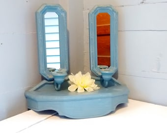 90s Hanging Shelf and Two Mirrored Candlestick Sconces Set Burwood Products Light Blue Nursery Decor Cottage Chic Decor RhymeswithDaughter