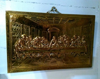 The Last Supper Wall Hanging Vintage 3D Laquered Brass Wall Hanging Religious Art Christian Home Decor Gift Idea RhymeswithDaughter