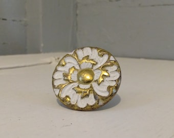 Vintage Floral Knob Round Mushroom Shape Furniture Hardware Drawer Pulls Cabinet Knob Metal Gold and White RhymeswithDaughter