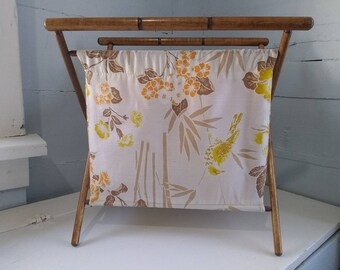 Vintage Sewing Stand Sewing Bag Craft Storage Portable Sewing Hamper MidCentury For Her Gift Idea Photo Prop RhymeswithDaughter