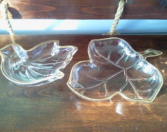 Vintage Bird Leaf Dish Clear Glass Gold Rim Candy Dishes Mint Bowls Serving Dishes Jewelry Dishes MidCentury Photo Prop  RhymeswithDaughter